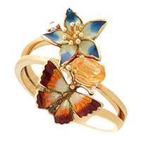 Кольцо Roberto Bravo Noahs Ark золотое с цветами цитрином и бриллиантом, фото