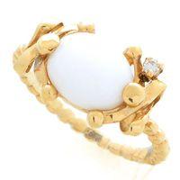 Кольцо Roberto Bravo White Dreams золотое с бриллиантом и овальным агатом, фото