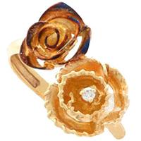 Кольцо Roberto Bravo Gallica золотое с розами и бриллиантом, фото
