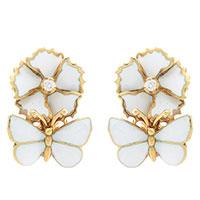 Серьги Roberto Bravo White Dreams золотые с бабочками и цветами с бриллиантами, фото