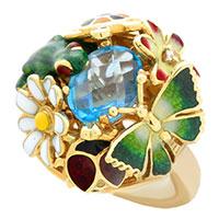 Кольцо Roberto Bravo Noahs Ark золотое объемное с овальным топазом и бриллиантом, фото