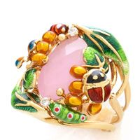 Золотой перстень Roberto Bravo Noahs Ark с розовым кварцем и бриллиантами, фото