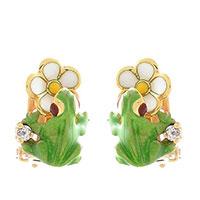 Серьги Roberto Bravo Noahs Ark золотые с белыми цветами лягушками и бриллиантами, фото