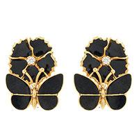 Серьги Roberto Bravo Black Magic золотые с бабочками и цветами с бриллиантами, фото