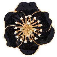 Кулон Roberto Bravo Black Magic золотой в виде цветка с черной эмалью и 21 бриллиантом, фото