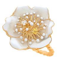 Кольцо Roberto Bravo White Dreams золотое в виде большого цветка с бриллиантом и сапфиром, фото