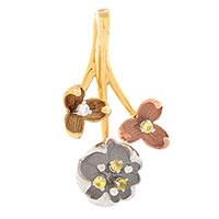 Подвеска Roberto Bravo Karina золотая из трех цветов с бриллиантом и сапфирами, фото