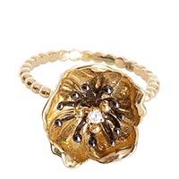 Тонкое золотое кольцо Roberto Bravo Gallica из шариков с большим цветком, фото