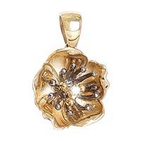 Золотой кулон на шею Roberto Bravo в форме цветка с бриллиантом, фото