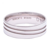 Обручальное мужское кольцо Roberto Bravo Amore Infinito из белого золота , фото