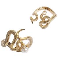 Двойное кольцо rockah. Siren's Treasures Змеи из ювелирной бронзы с позолотой и жемчужиной, фото