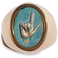 Перстень rockah. Amor Vincit Omnia из ювелирной бронзы с патиной Mano Veritas истина одна, фото