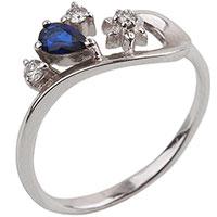 Золотое кольцо с сапфиром и бриллиантами, фото
