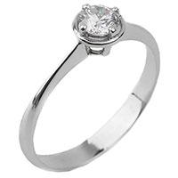 Золотое кольцо с белым бриллиантом, фото