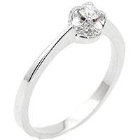 Золотое кольцо с бриллиантом круглой огранки, фото