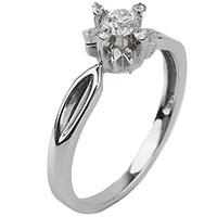 Кольцо с белыми бриллиантами из золота, фото