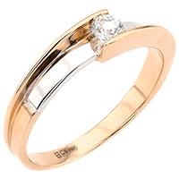Кольцо из красного золота с контрастной накладкой, фото