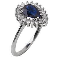 Золотое кольцо с синим сапфиром, фото