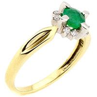 Кольцо из желтого золота изумрудом и бриллиантами, фото