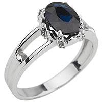 Золотое кольцо с сапфиром в узорной оправе, фото