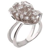Золотое кольцо в виде цветка с бриллиантами, фото