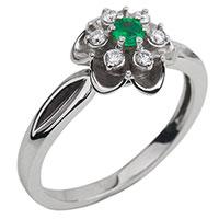 Кольцо в форме цветка с бриллиантами и изумрудом, фото