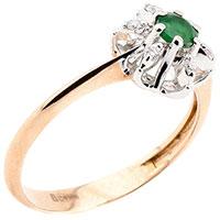 Кольцо из золота с зеленым изумрудом и бриллиантами, фото
