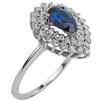 Золотой перстень с бриллиантами и сапфиром, фото