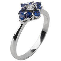 Золотое кольцо с бриллиантом и сапфирами, фото