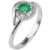 Золотое кольцо с изумрудом и бриллиантами, фото