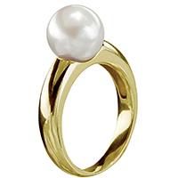 Женское кольцо Yamagiwa из желтого золота с круглой натуральной жемчужиной, фото