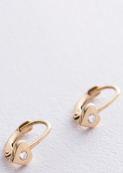 Золотые серьги в виде сердца с фианитом, фото