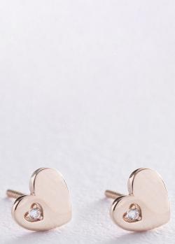 Пусеты-сердечки из красного золота, фото