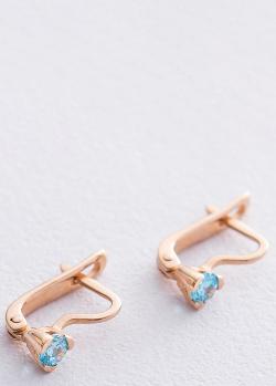 Золотые серьги с фианитами голубого цвета, фото
