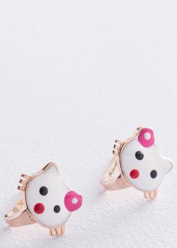 Золотые серьги Hello Kitty с эмалью, фото