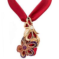 Колье Graziella Margherita из шелковой ленты и позолоченного серебра, фото