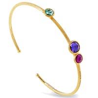 Тонкий браслет Marco Bicego Jaipur из золота с тремя драгоценными камнями, фото