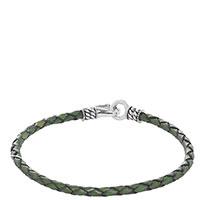 Кожаный плетеный браслет Zeades с серебряной застежкой, фото