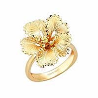 Кольцо Roberto Bravo Soul Dance из желтого золота с цветком , фото