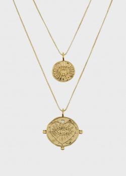 Колье Luv Aj Evil Eye Double Coin с раздельными цепочками, фото