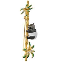 Брошь Misis Shan-si в виде бамбуковой веточки с пандой, фото