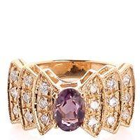 Перстень с крупным аметистом фиолетового цвета и бриллиантами, фото