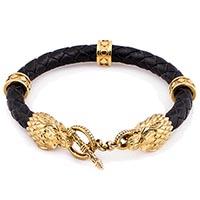 Кожаный браслет TOTEM Adventure Jewelry Wolf Gold с позолочеными волками, фото