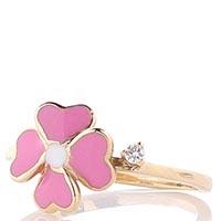 Тонкое золотое кольцо Roberto Bravo Kareena с розовым цветком и бриллиантом, фото