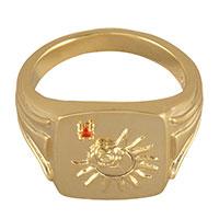 Перстень-печатка Wanderlust + Co Reverie Solis с цирконом янтарного цвета, фото