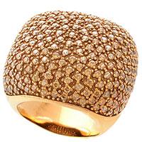 Большое кольцо Pesavento позолоченное с желтыми цирконами, фото