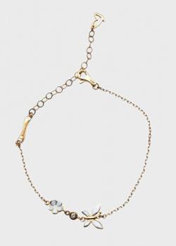 Золотой браслет Roberto Bravo White Dreams-N с бабочкой и цветком, фото