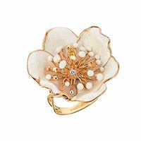 Кольцо Roberto Bravo White Dreams с белым цветком , фото