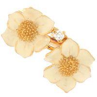 Кольцо Roberto Bravo White Dreams золотое с двумя цветами и бриллиантом, фото