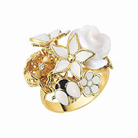 Кольцо Roberto Bravo White Dreams с цветами , фото